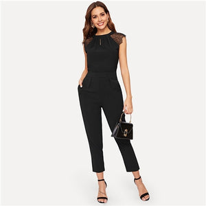 Sheinside Elegant Eyelash Lace Sleeve Black Jumpsuits Women