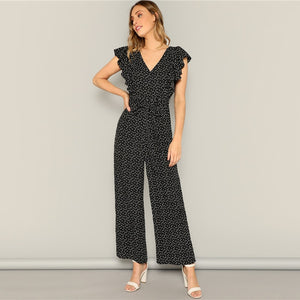 Sheinside Elegant Heart Print Wide Leg Jumpsuit Women