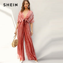 Load image into Gallery viewer, SHEIN Rust Plunging  Palazzo Jumpsuit