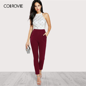 COLROVIE Backless Halter Korean Party Jumpsuit Romper Women