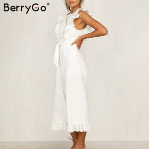 BerryGo linen rompers ruffled  jumpsuit for women