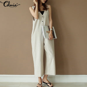 Celmia Summer Plus Size Vintage Women Jumpsuit