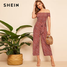 Load image into Gallery viewer, SHEIN Boho Rust Shirred Bodice Belted Floral Bardot Jumpsuit