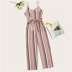 Sheinside Striped Belted Wide Leg Cami Jumpsuit for women