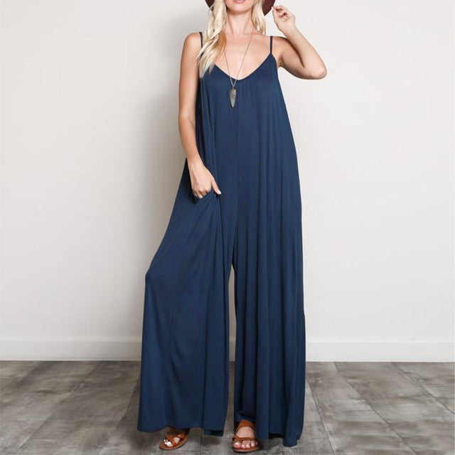 ZANZEA Summer Women Sexy V Neck Long Jumpsuits