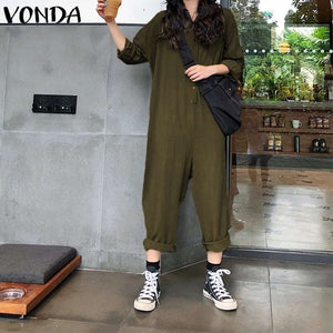 VONDA Plus Size  Pants 2019 Jumpsuits Women
