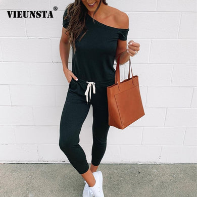 VIEUNSTA Off Shoulder Lace-up Pockets Sexy Jumpsuit