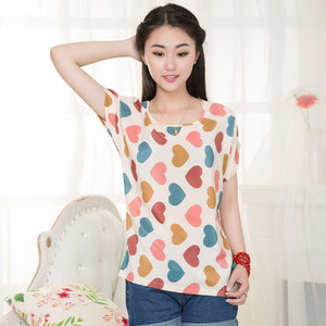 CUHAKCI  Chiffon Blouses Women Summer Tops And Shirts