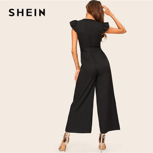 SHEIN Elegant Surplice Wrap Belted Wide Leg Black Jumpsuit
