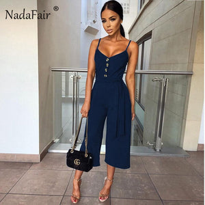 Nadafair Summer Sexy Jumpsuits Women Rompers Plus Size