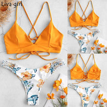 Load image into Gallery viewer, Liva girl Bikini Low Waisted Push-Up Two-Piece Sexy Pad