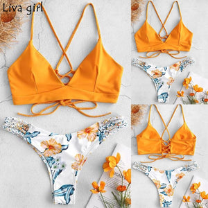 Liva girl Bikini Low Waisted Push-Up Two-Piece Sexy Pad