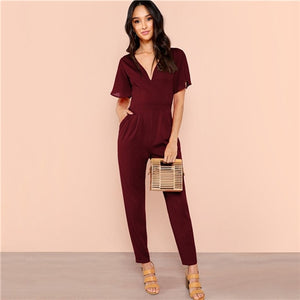 Sheinside Black Flutter Sleeve High Waist Jumpsuits