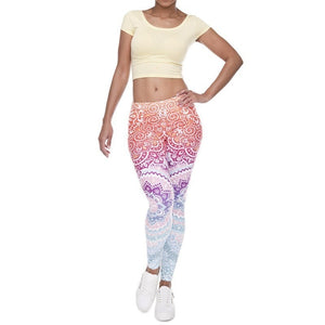 Retro Print Gym Legging Women Fitness