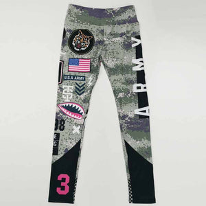 Women Letter Army Yoga Pants 3D Printed High Waist Sports