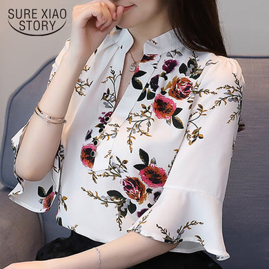 women's summer blouses 2019 flare floral print chiffon blouse