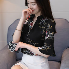 Load image into Gallery viewer, women's summer blouses 2019 flare floral print chiffon blouse