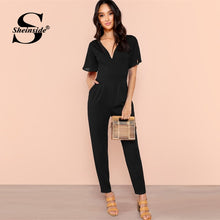 Load image into Gallery viewer, Sheinside Black Flutter Sleeve High Waist Jumpsuits