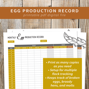 Egg Production Record - Printable PDF File, Great for Backyard Chicken Keepers, Breeders, and 4-H Kids