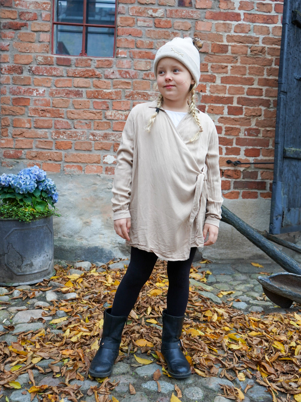 Kids' Wrap Knot Dress - Cafe con Leche