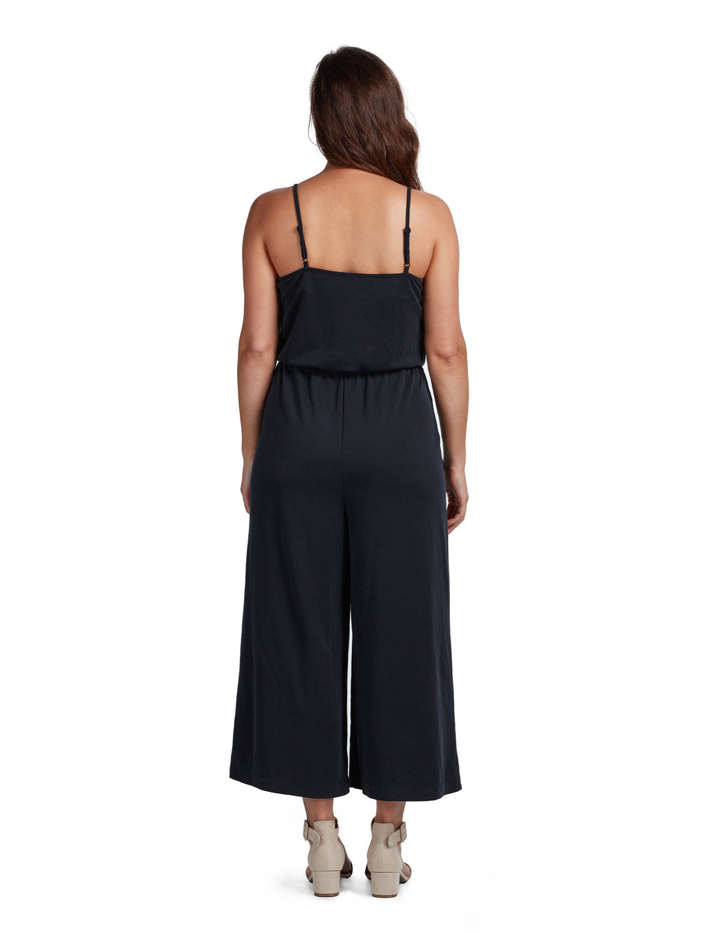 Women's Loose Wrap Jumpsuit - Espresso Black