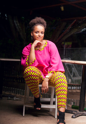 Pink and Yellow Fadillah Pants