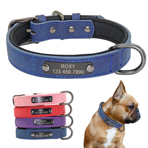 Leather Collar Engraved Puppy Pet - Pet Shop Boys and Girls