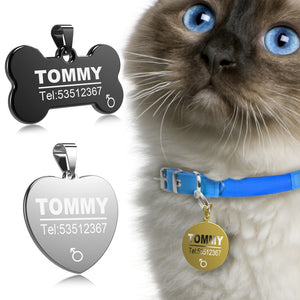 Stainless Steel Pet Cat ID Name Tags - Pet Shop Boys and Girls