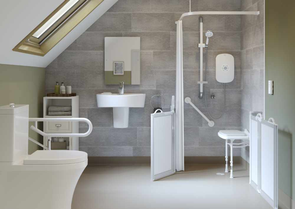 Adapted bathroom for the elderly light and airy