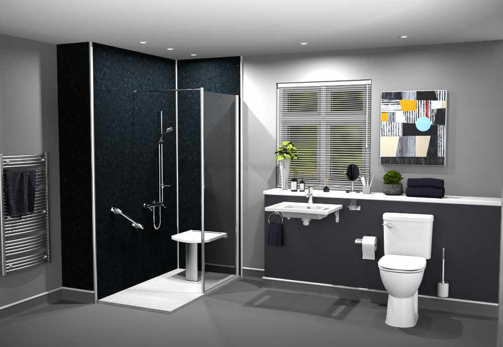 Mobility bathroom installation in black marble