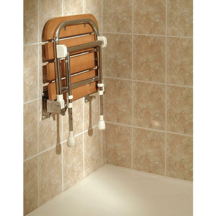 AKW FOLD UP WOODEN SLATTED SHOWER SEAT