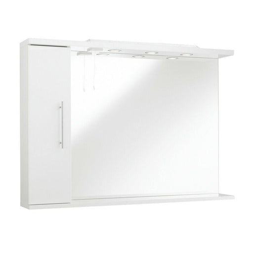 Bathroom mirror with side cabinet and lights