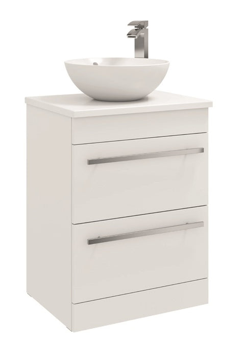Purity 600mm Floor Standing 2 Drawer Unit with Ceramic Worktop & Sit On Bowl