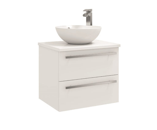 Purity 600mm Wall Mounted 2 Drawer Unit with Ceramic Worktop & Sit On Bowl
