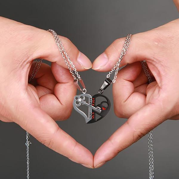 Couples Heart Shaped Key Necklace