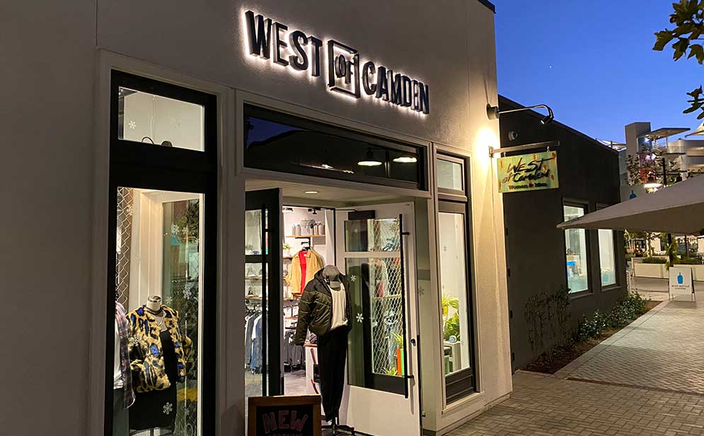 West of Camden store front in San Diego at One Paseo