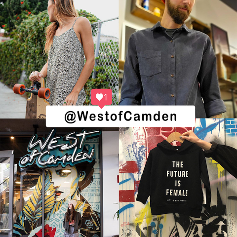 Pictures from West of Camden's instagram @westofcamden - 4 pictures as one with text overlay