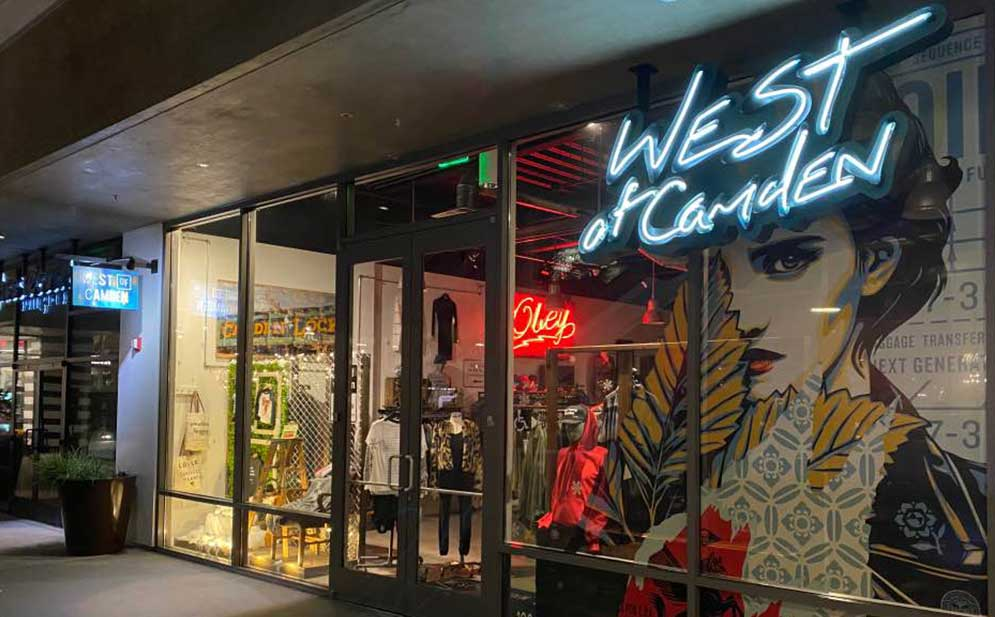 West of Camden store front in Huntington Beach at Pacific City