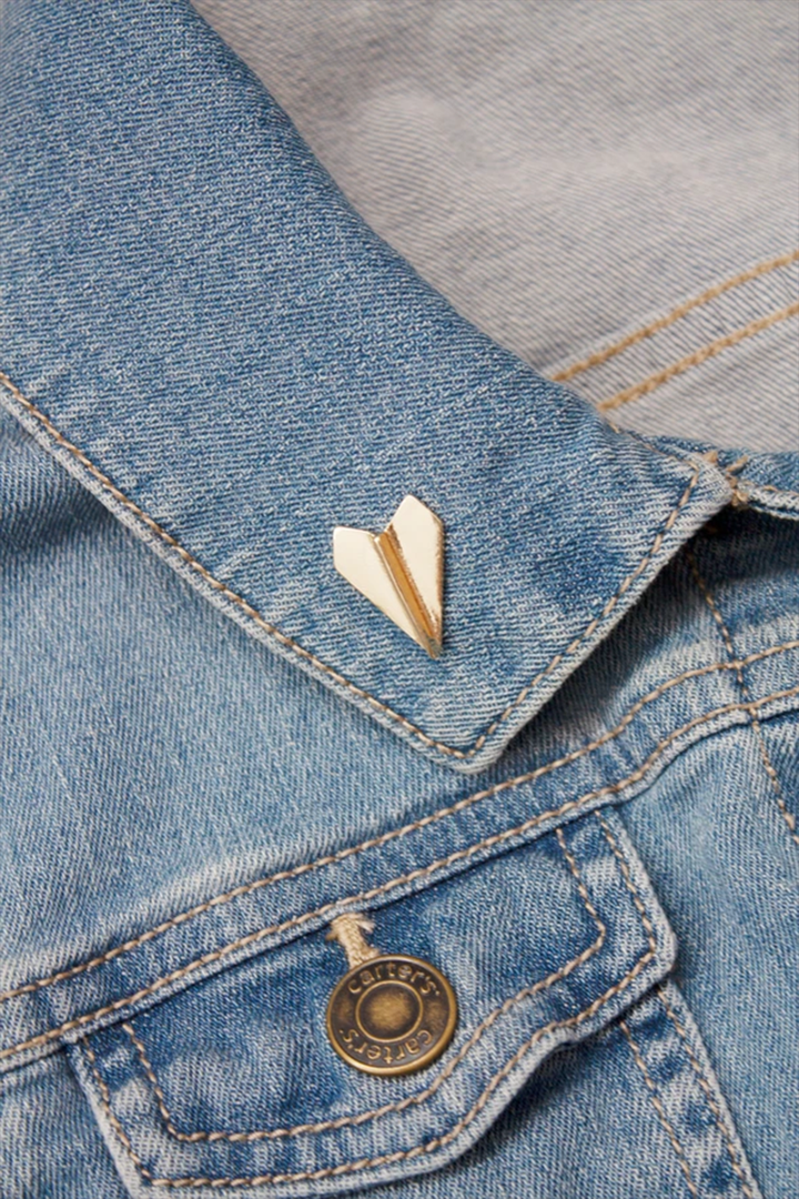 Gold Paper Airplane Enamel Pin - West of Camden