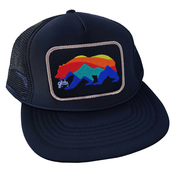 Sunrise Bear Trucker | Black/Tan - West of Camden