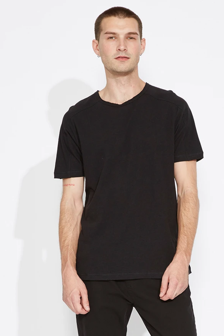 Nora Knit Panel Tee | Black