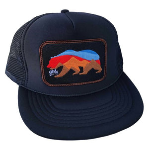 Sunset Bear Trucker | Black/Brown - West of Camden
