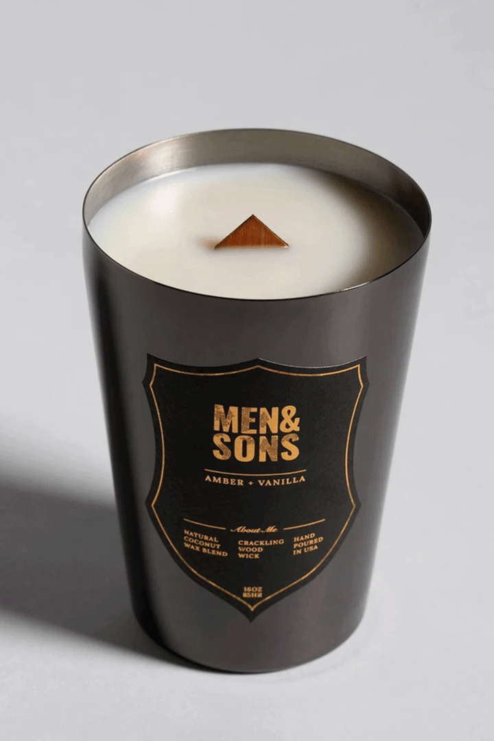Amber + Vanilla Candle | Black Tin - West of Camden