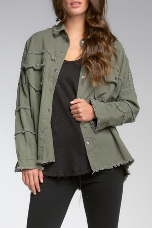Distressed Rock & Roll Jacket | Olive