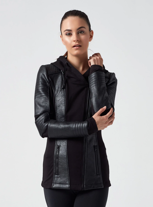 Asym Hooded Moto | Black - West of Camden