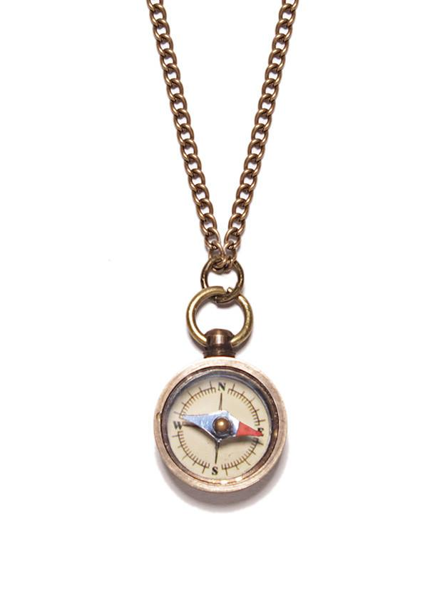 Antiqued Miniature Compass Necklace - West of Camden