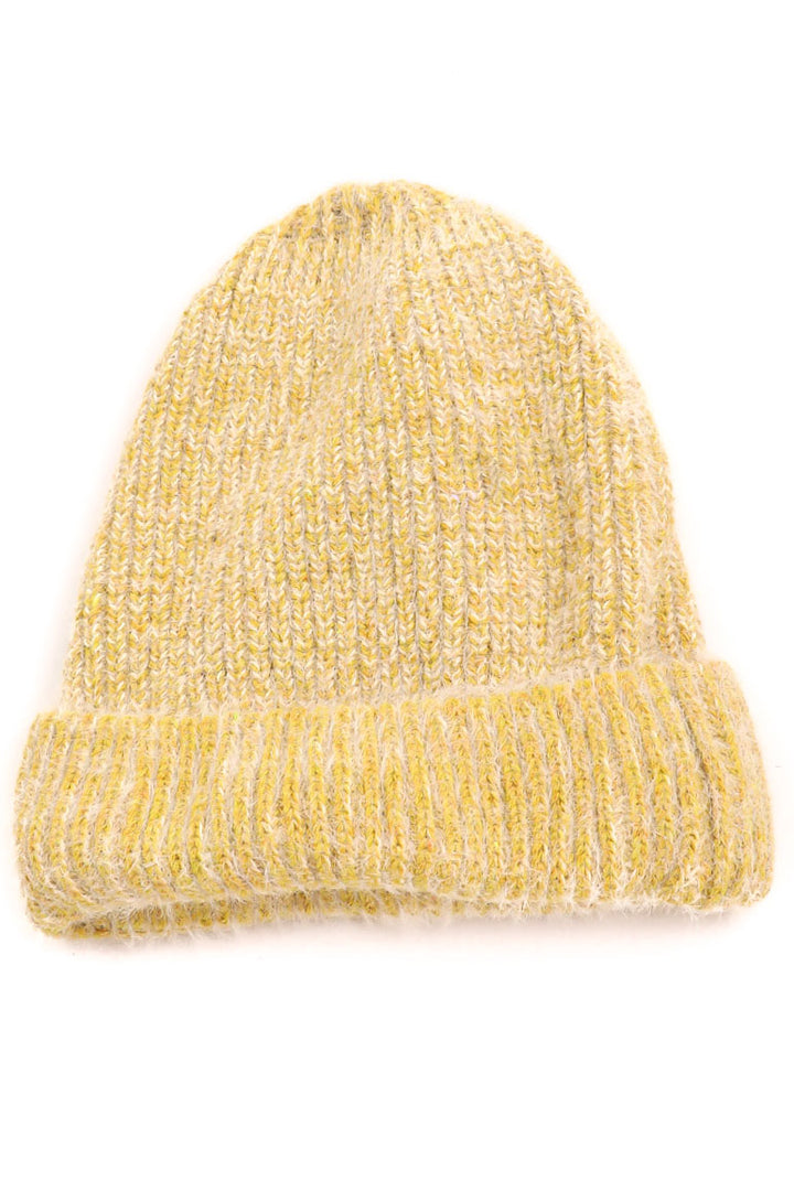 Fuzzy Ribbed Beanie | Yellow - West of Camden