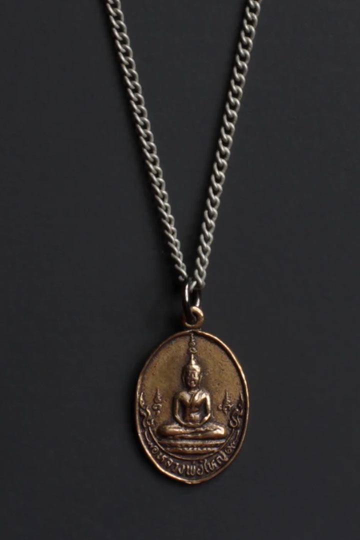 Bronze Oval Buddha Necklace