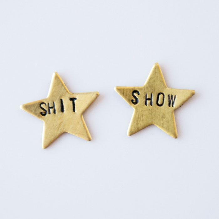 Shit Show Star Earrings | Brass - West of Camden