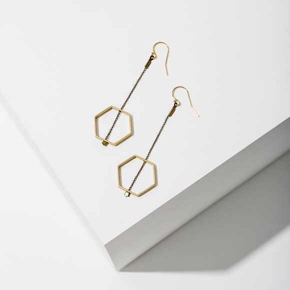 Horizon Hexagon Earrings | Brass - West of Camden